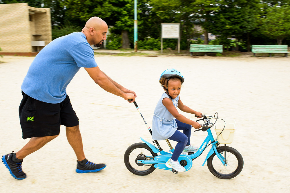Addison tries without training wheels