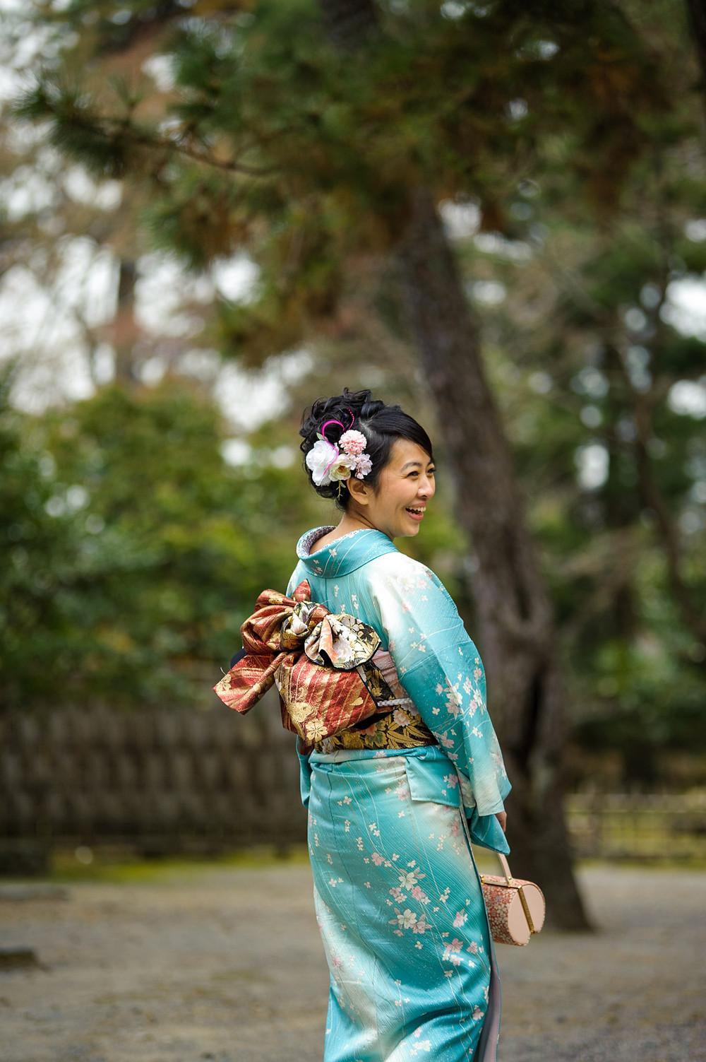 Carina poses in her beautiful Kimono