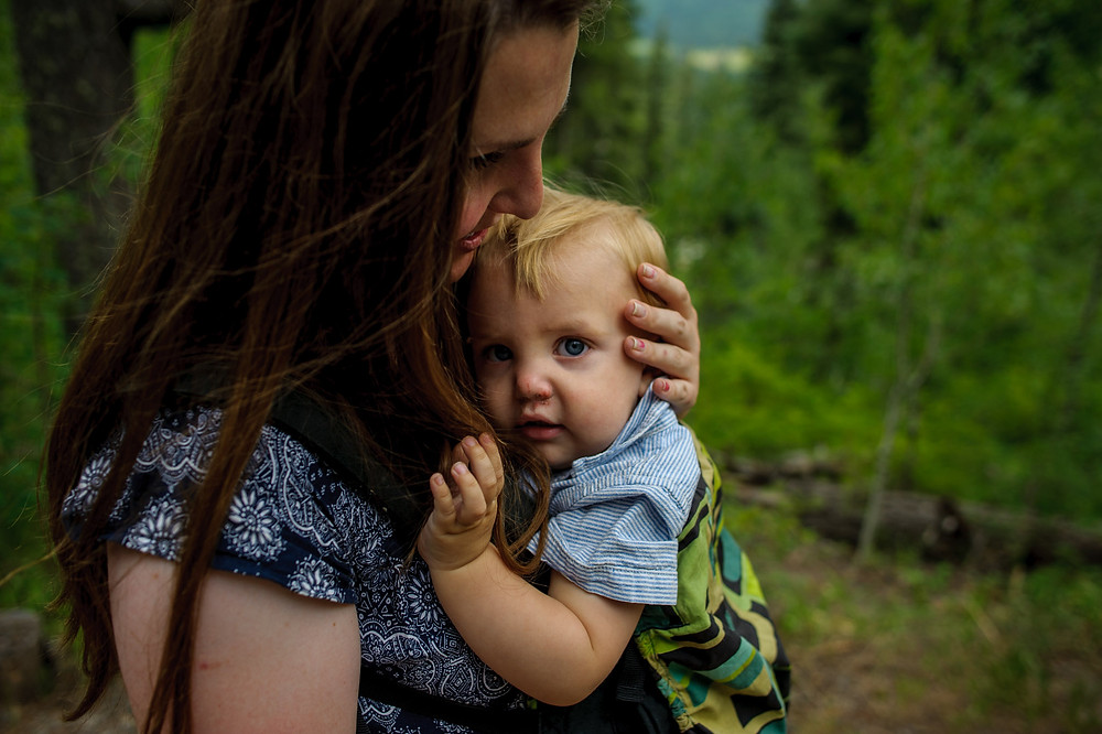 Val and baby Guy hiking