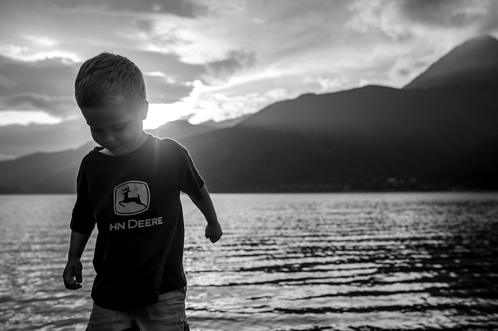 Dean in the sunset at Lake Saiko