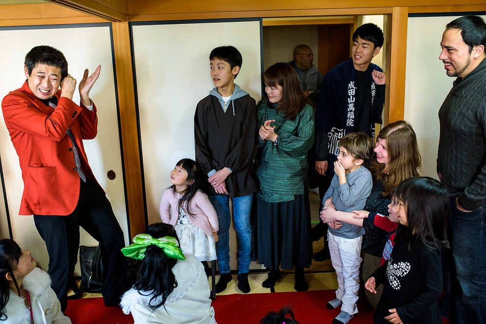 The magician performs in a small room for Gaelle's family