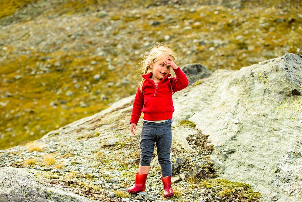 Skye in her red fleece