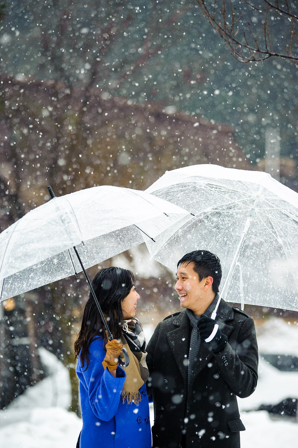 The couple stands together in the snow under umbrellas