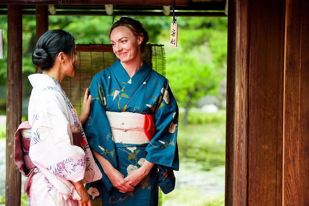 Two women outside in kimono