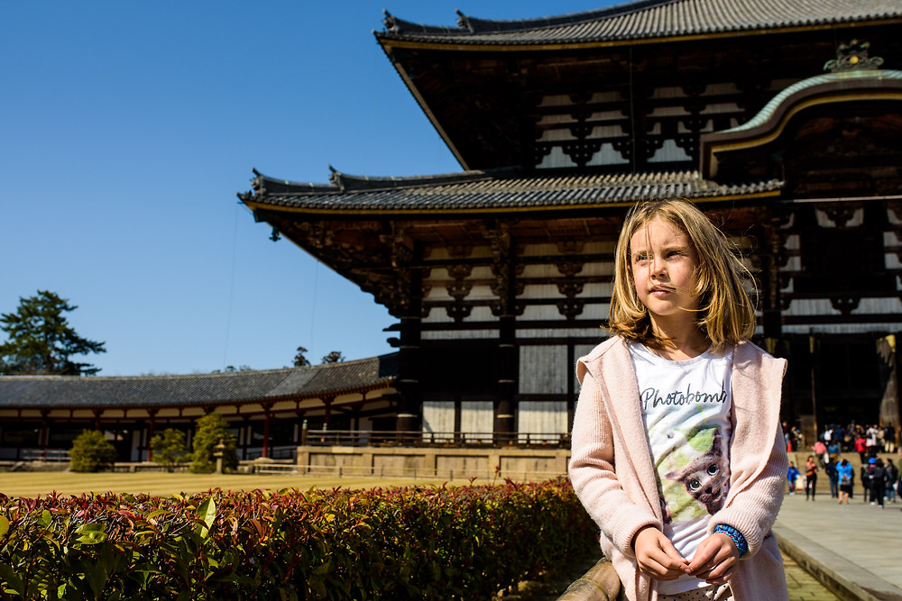Amelia in front of a temple in Nara
