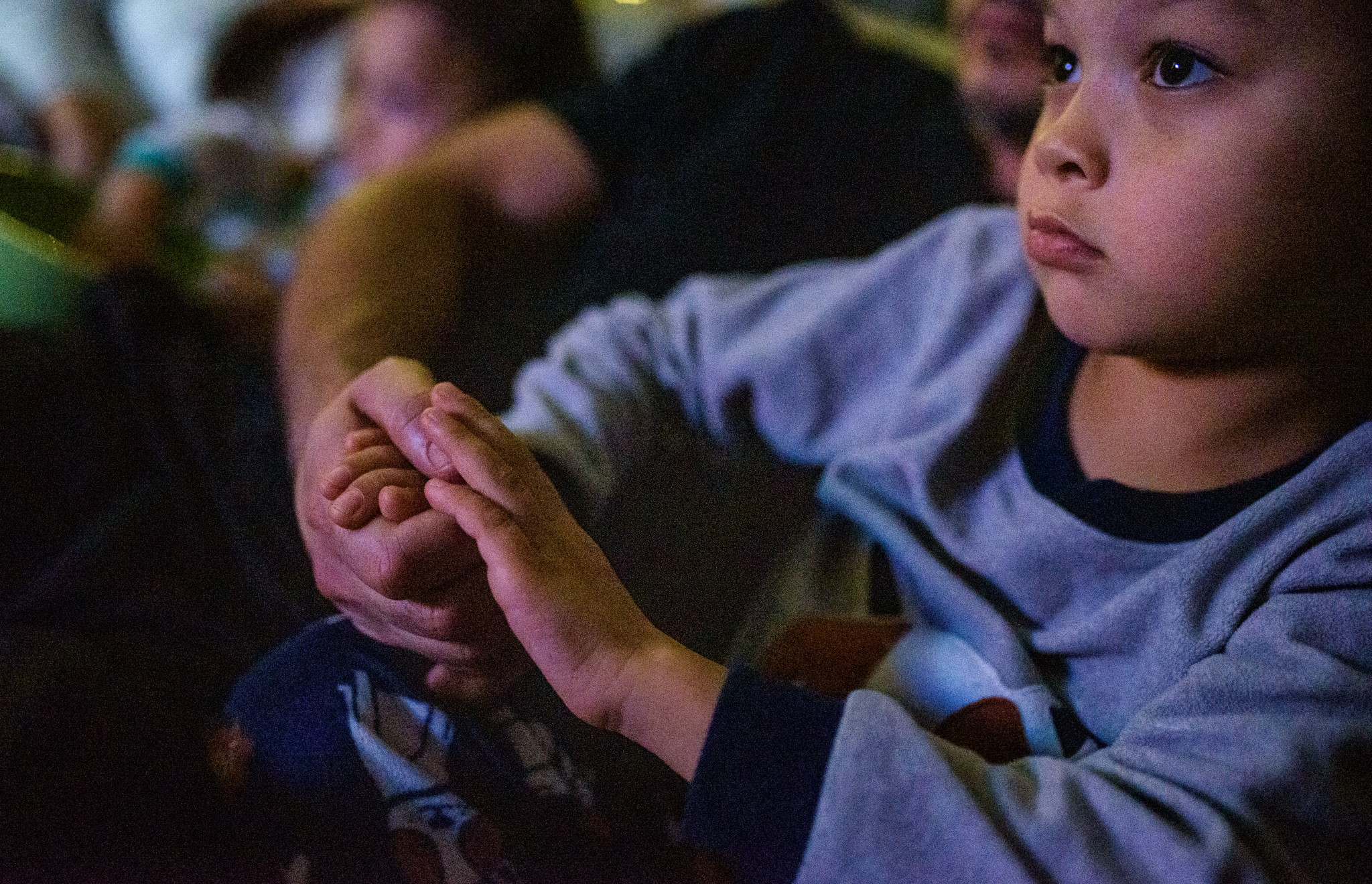 boy holds dad's hand while watching tv