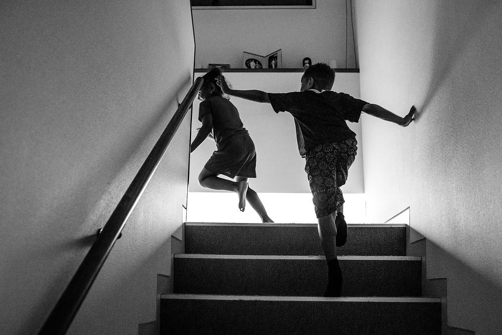 Addison and Jackson run upstairs together