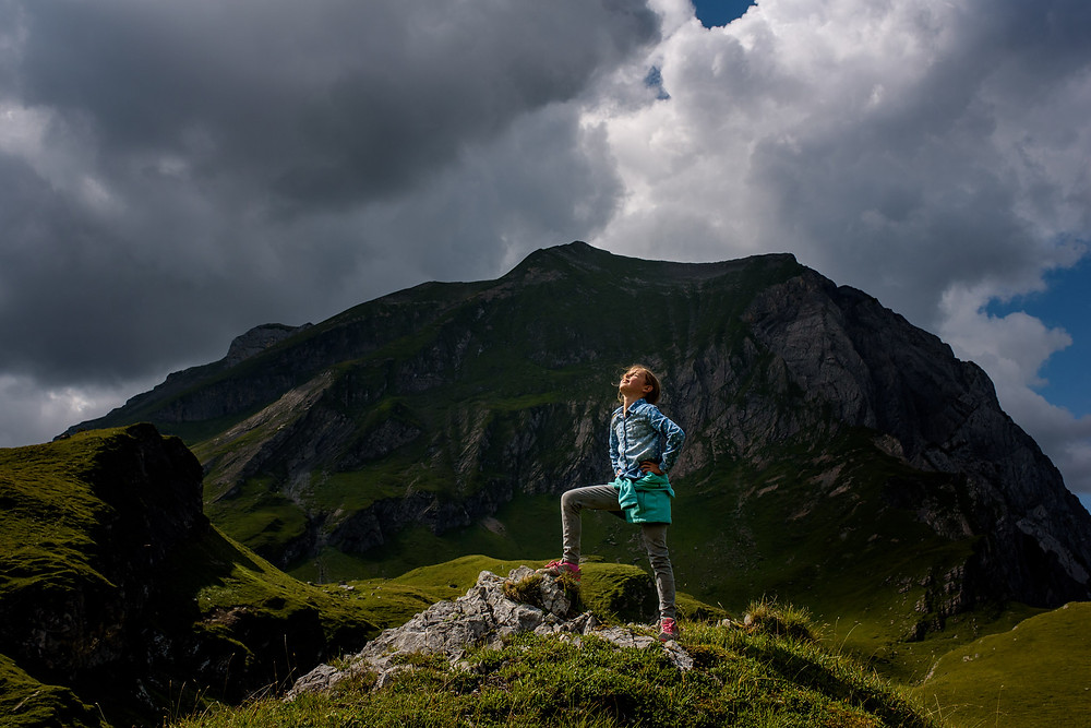 girl and a mountain