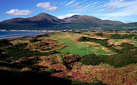 The View looking back down the 3rd at Royal County Down Championship course with he Mourne Mountains as a back drop