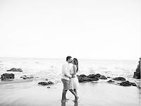 Engagement Kiss at Malibu's Piedra Blanc