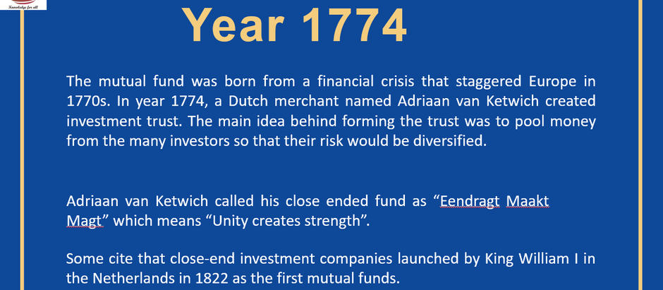 History of Mutual Funds in the World