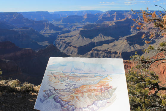 Plein Air Sketch on the Rim of Grand Canyon