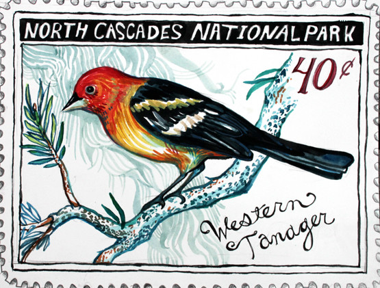 North Cascades National Park Tanager Stamp, 2014