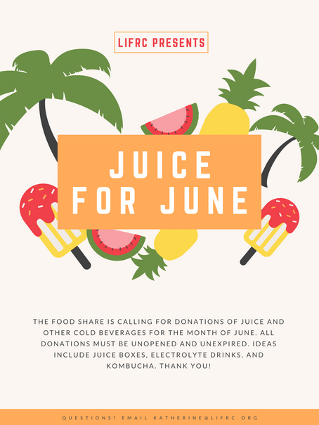 Juice for June: in kind food drive