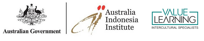 The Australian Government, Australia Indonesia Institute and Value Learning logos combined in a logo