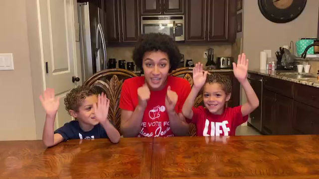 """The twins and I with our reminder to """"Vote for Aliana"""" and """"Watch American Idol"""" tonight 4-26-20"""