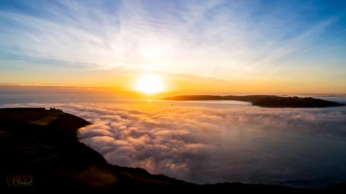 Sunset over fog