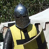 Knight in sugarloaf helmet