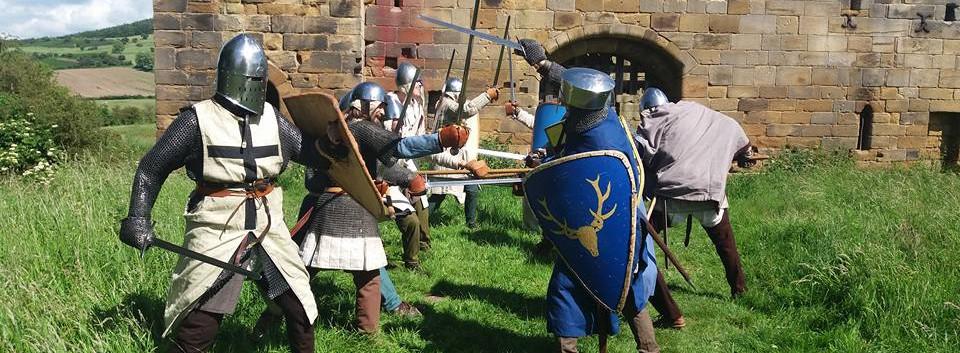 Combat outside Whorlton Castle