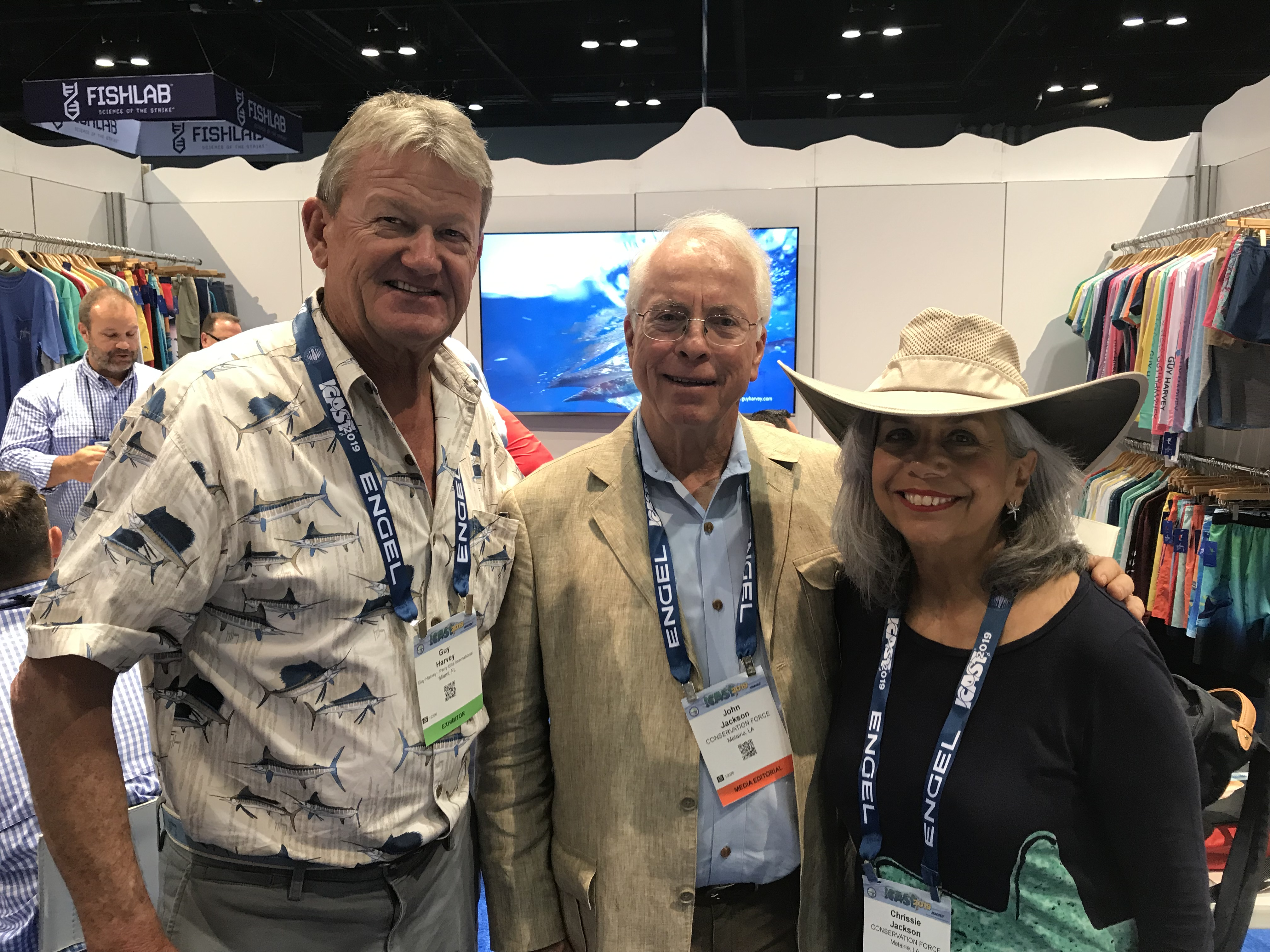 Guy Harvey with John and Chrissie Jackson discussing potential joint marine projects