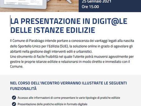 Il 25 gennaio un webinar spiegherà il nuovo servizio di Sportello Digitale per l'Edilizia