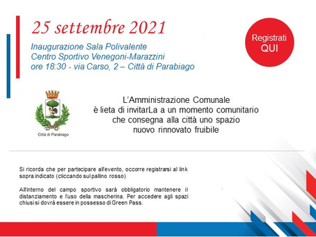 Sala Polivalente: inaugurazione il 25 settembre ore 18:30 presso il campo Venegoni - Marazzini