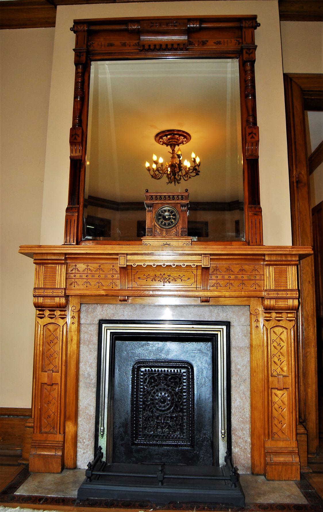 Butternut Fireplace & Mirror