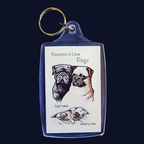 Reasons to Love Pugs Key Ring