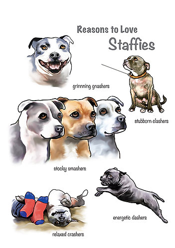 Reasons to Love Staffies Greetings Card