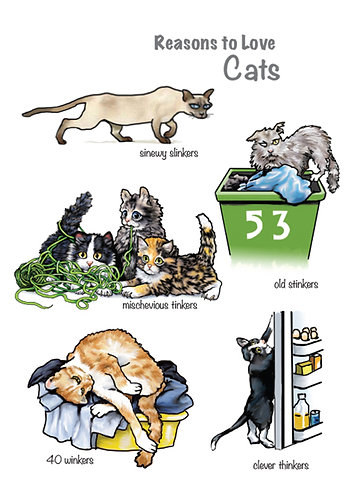 Reasons to Love Cats Greetings Card