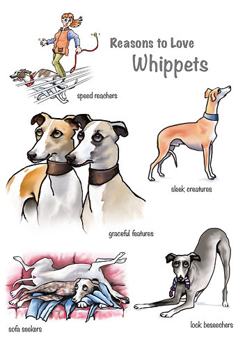 Reasons to Love Whippet Greetings Card
