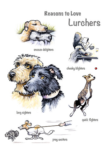 Reasons to Love Lurchers Greetings Card