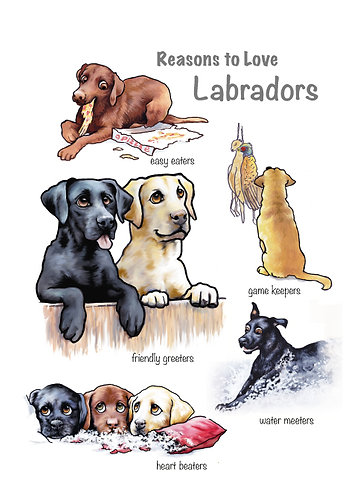 Reasons to Love Labradors Greetings Card