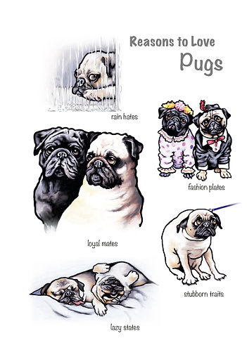 Reasons to Love Pugs Greetings Card