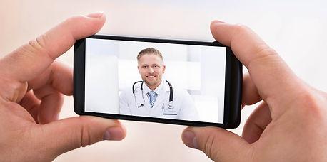 Doctor on a teleconferene
