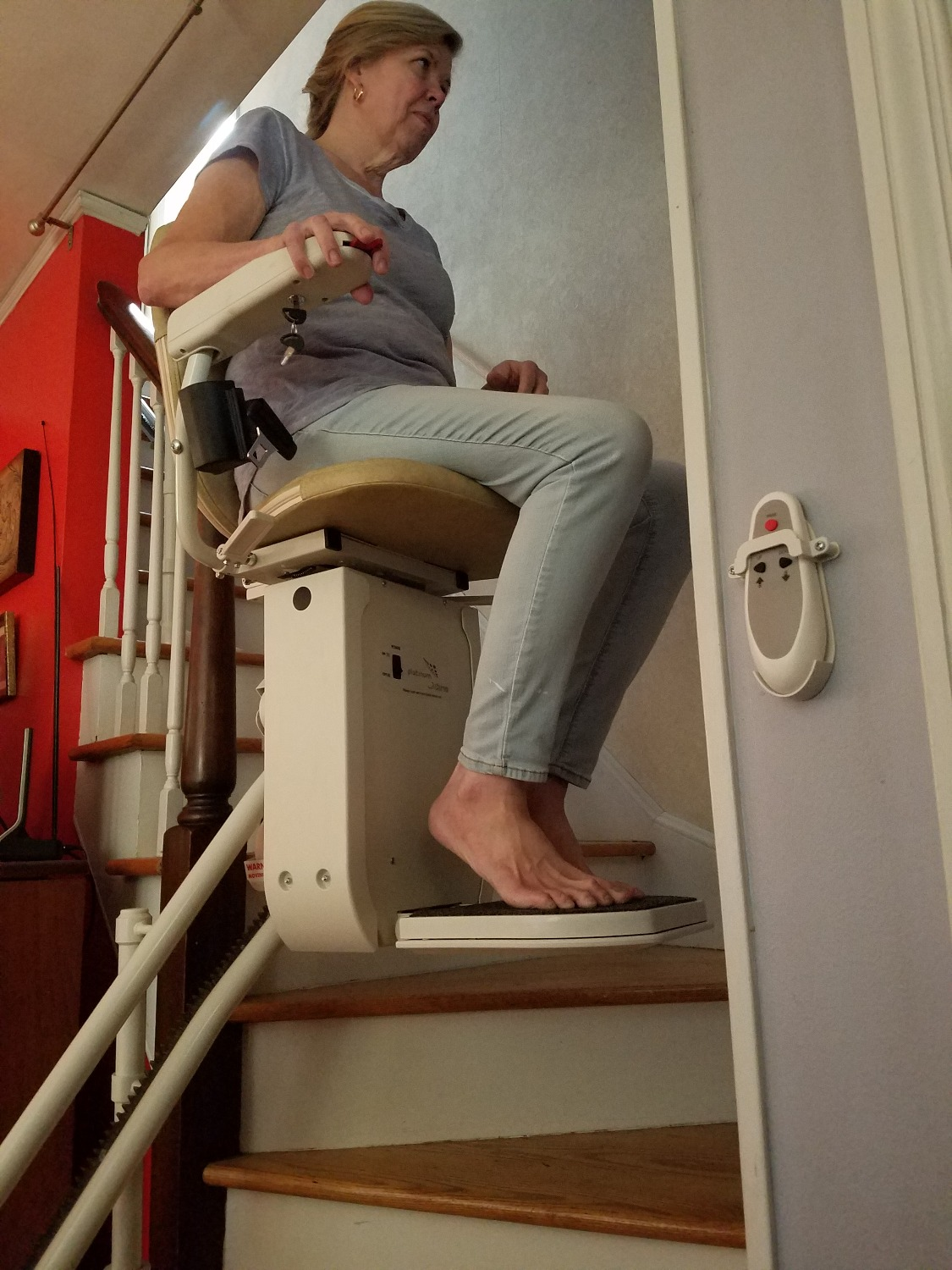 Curved Stair Lift with Rider