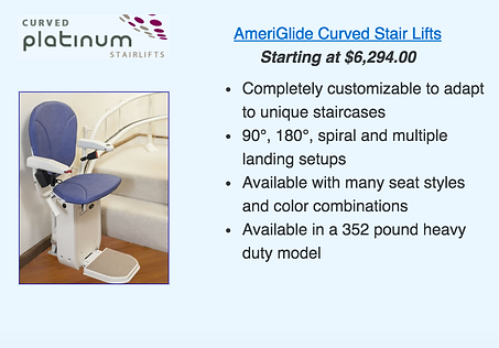 Ameriglide Plantinum Curved Stair Lift