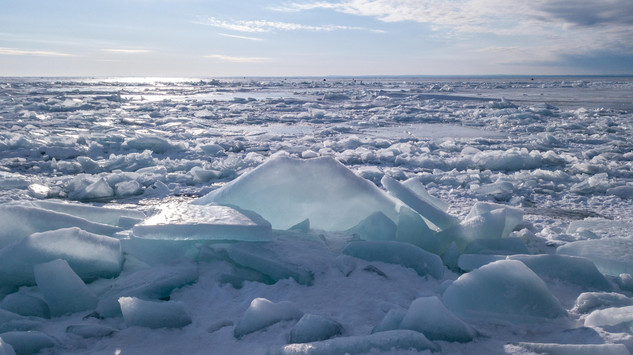 blue ice on the shores of duluth