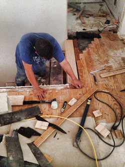 Installation of the new stair treads