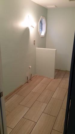 Finished Sheetrock and Tile Floor