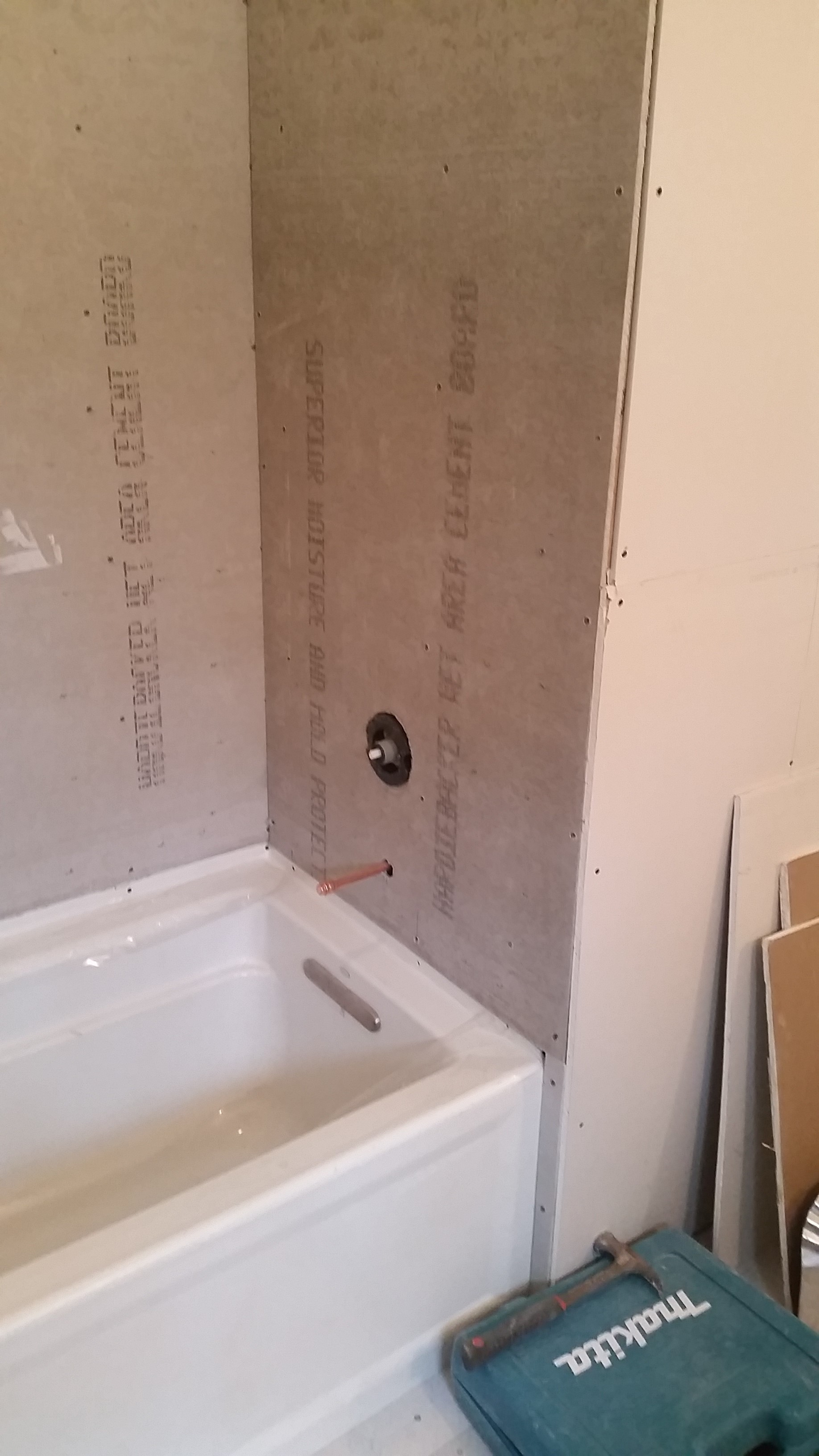 New Tub and Tile Backer