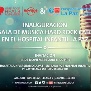 Sala de MÚSICA Hard Rock Café en el Hospital Universitario La Paz. Proyecto #TAKEmusic.