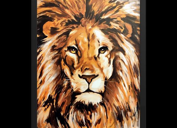 Quadro Decorativo Abstrato Leão Animal de Poder