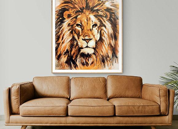 Quadro Original Leão Abstrato (REI SOLAR)