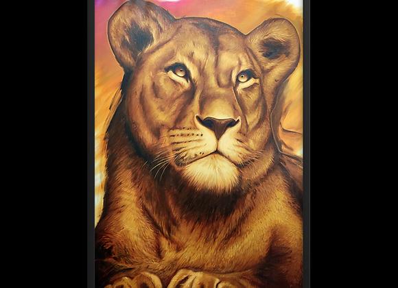 Quadro Decorativo Leoa Animal de Poder