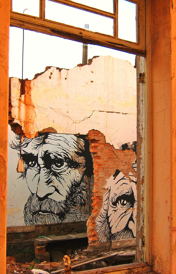 "Title: ""Escória"" (serie ""Inconstancy"") Procedures: Portrait of homeless, painted on the wall of abandoned house.  Materials: Acrylic paint Local: São Paulo Year: 2011"