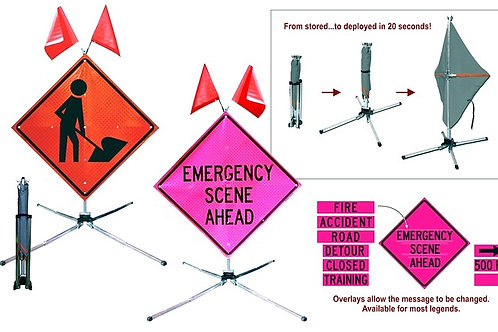 "48"" Fold & Roll Sign and Stand ""EMERGENCY SCENE AHEAD"" Super Bright"