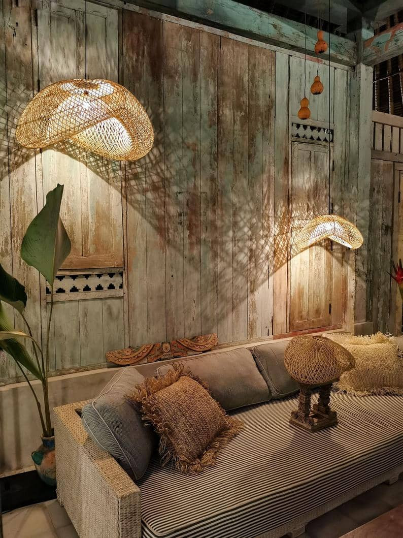 natural rattan soft light lampshade