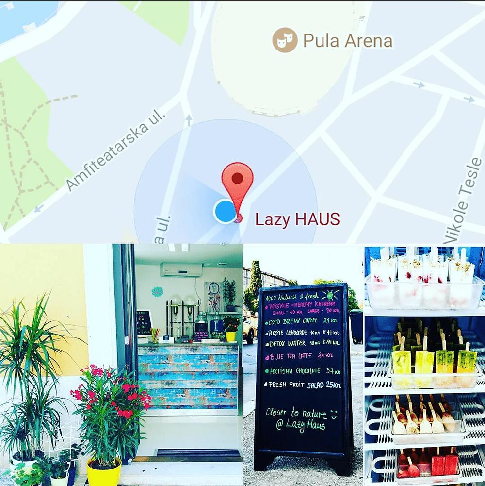 Lazy haus, juice bar near the Arena in Pula, Croatia