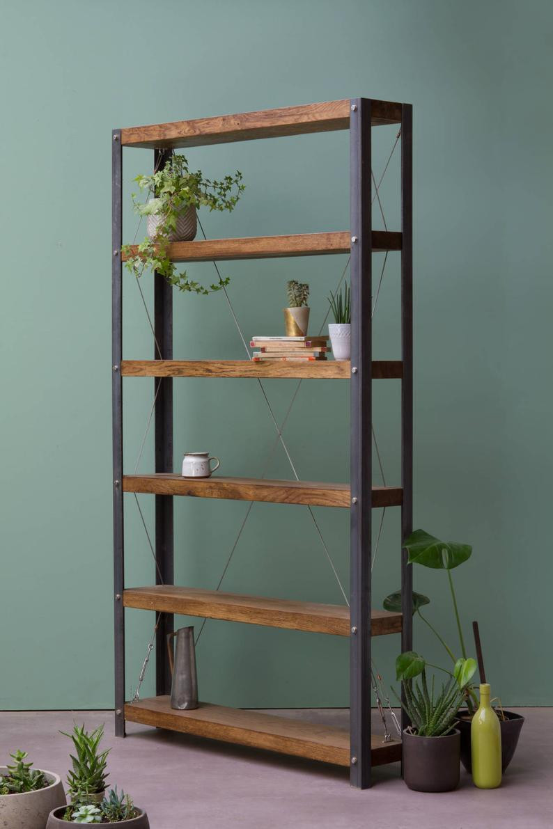 sustainable wood bookshelf as a focal point of the room